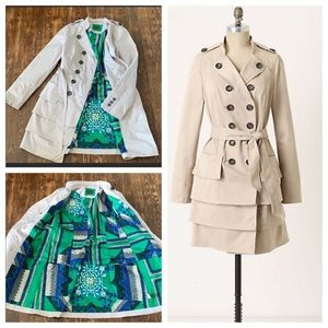 Anthropologie Idra Ruffle Trench Coat